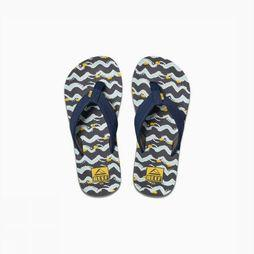 Reef Slipper Little/Kids Ahi Glow Marineblauw/Geel