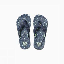 Reef Slipper Little/Kids Ahi Glow Marineblauw/Groen
