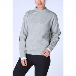 Yaya Pullover W. Blouse Cuff Light Grey Mixture
