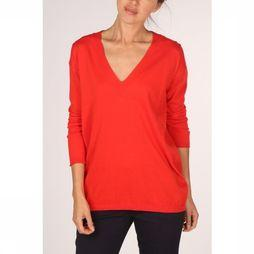 Yaya Pullover Vneck With Strap At Back mid red