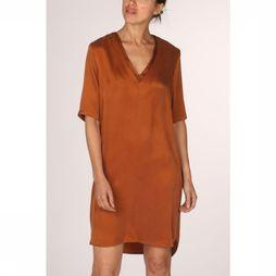 Yaya Jurk Dress Double V-Neck Kameelbruin