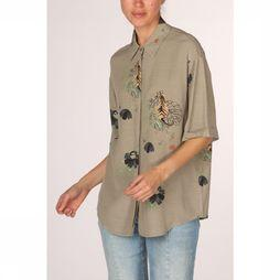 Yaya Hemd Blouse Short Sleeve Animal Print Middenkaki/Assortiment Bloem