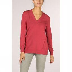 Yaya Trui Vneck With Open Knit Middenroze