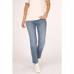Yaya Jeans Basic Straight Denim With Raw Edges Middenblauw
