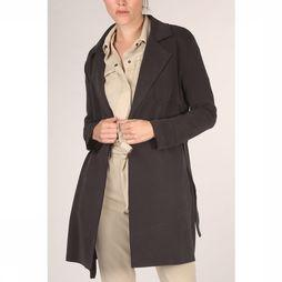 Yaya Manteau Jersey Trench Coat With Raw Edge Noir