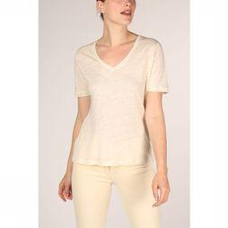 Yaya T-Shirt Linen V-Neck With Satin Tape On Back white