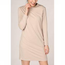 Yaya Jurk Midi Draped Collar Zandbruin