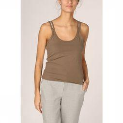 Yaya T-Shirt Cotton Singlet Mesh Detail Middenbruin