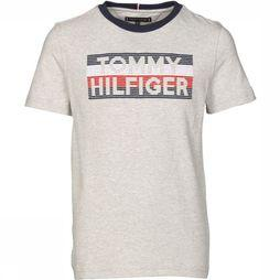 Tommy Hilfiger T-Shirt Logo Embroidered Light Grey Mixture