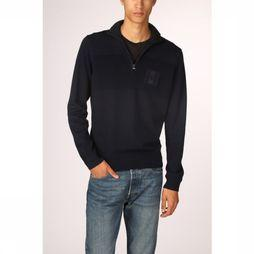 Tommy Hilfiger Pull Placed Structure  Zip Mock Bleu Foncé