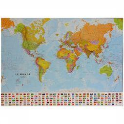 Maps International Monde political with flags laminated with hanging strips 2017