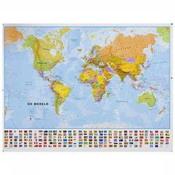 Maps International Wereld political with flags laminated with hanging strips 2017