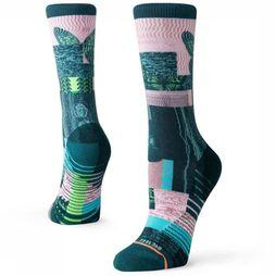 Stance Kous Painted Lady Crew Groen/Middenroze