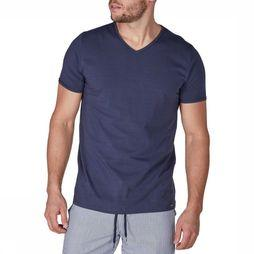 Skiny T-Shirt Mens V-neck SL Marineblauw