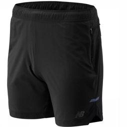 New Balance Short Q Speed Run Crew Zwart