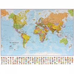 Maps International Wereld political wall map laminated 2017