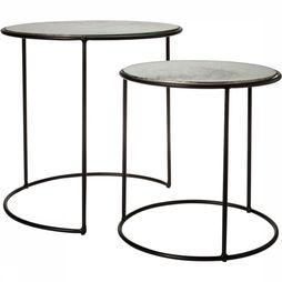 Yaya Home Tafel Nesting Tables Antique Glass S/2 Zwart