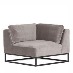 Yaya Home Sofa  Velvet Sofa Corner With Metal Frame Middengrijs