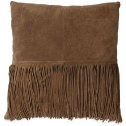 Yaya Home Kussen Suede Cushion With Fringes Donkerbruin
