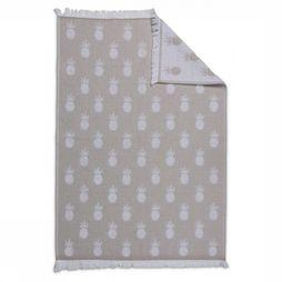 Yaya Home Handdoek Hand Towel With Pineapple Print Ecru/Gebroken Wit