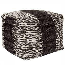 Yaya Home Knitted Pouf With Pattern Zwart/Wit