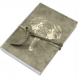 Yaya Home Boeken Suede Notebook With Elephant Foil Print Groen
