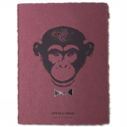 Yaya Home Poster A5 Crazy Monkey Donkerpaars