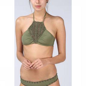 Quintsoul Bh Bali Solid Crochet High Neck voor dames - Kaki
