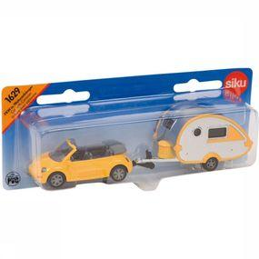 Siku Spel Speelgoed Auto Met Caravan Pull Back voor kinderen Geel