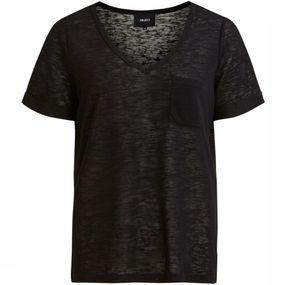Object T-shirt Tessi Slub Ss V Neck Noos voor dames – Zwart