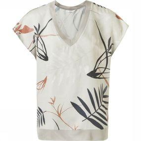 Blouse Woven Rib Neck Bird Print