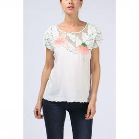 T-Shirt Tropical Flower Embroidered