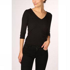 ONLY T-shirt Gina 3/4 V-neck Jrs voor dames – Zwart