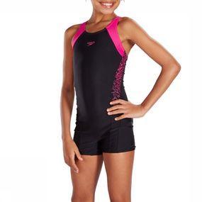 Speedo Badpak Endurance 10 Boom Legs Bla/pin voor meisjes - Zwart
