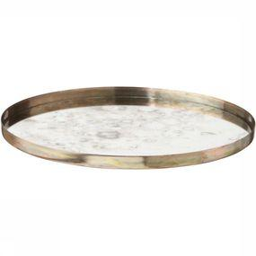 Servies Round Vintage Look Mirrored Tray - Small