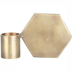 Kaars  Brass Candle Holder Polygon