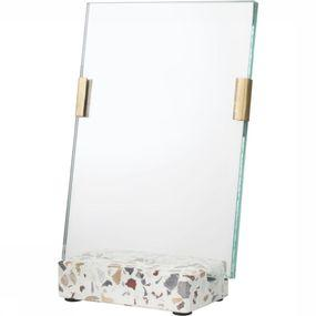 Fotolijst Glass Photoframe With Brass Clips In Terrazzo Stand