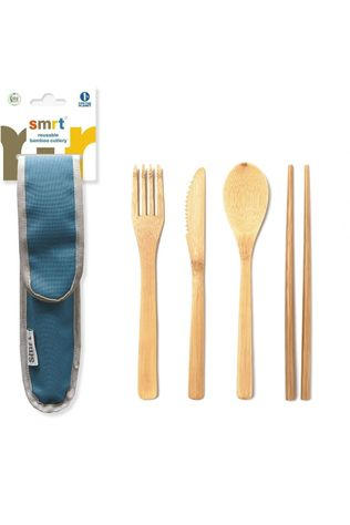 Smrt Cutlery Set Bamboo mid blue
