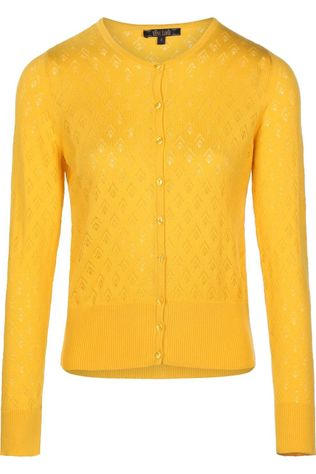 King Louie Cardigan Roundneck Oyster mid yellow