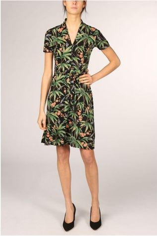 King Louie Dress Emmy Tahiti black/Assortment Flower