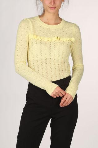 King Louie Pullover Ruffle Fluffy light yellow