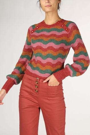 King Louie Pull Sailor Knit Sandou Fuchsia/Vert