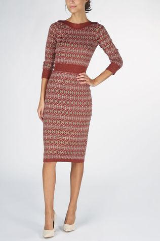King Louie Dress Audrey Midi Taboo Bordeaux / Maroon/Green