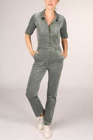 King Louie Combinaison Garbo Button Jumpsuit Corduroy Vert Moyen