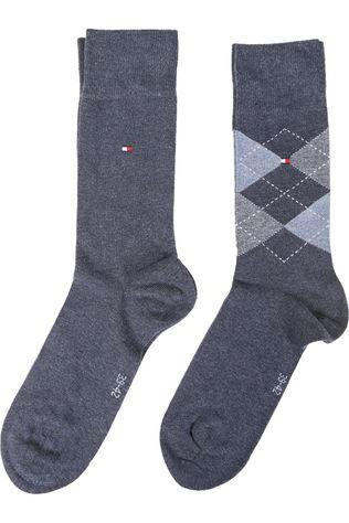 Tommy Hilfiger Socks Kous Check Blauw (Jeans)