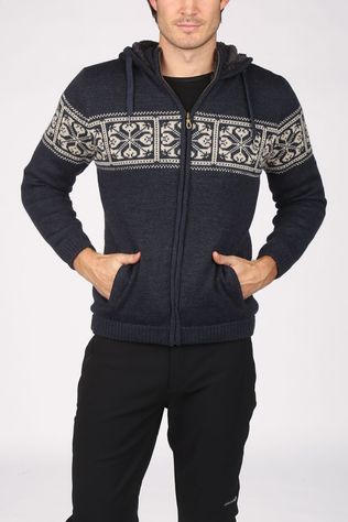 Ayacucho Fleece Knight Wool Hoody Navy Blue/Ecru