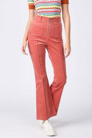 King Louie Broek Ida Front Zip Flared Pant Babyrib Lichtroze