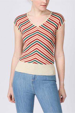 King Louie Pull Deep V Cabana Stripe Vanille/Rose Clair