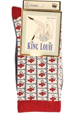 King Louie Sock Socks 2 Pack Yucca mid blue/mid red