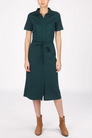 King Louie Dress Rosie Slim Fit Milano Crepe dark green